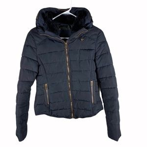 Zara black puffer coat with packable hood small
